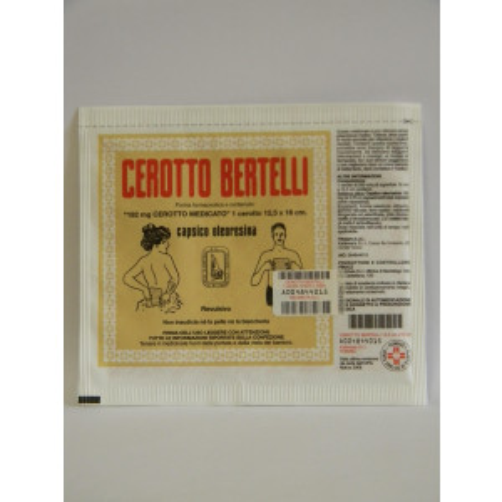 """CEROTTO BERTEL, """"192 MG CEROTTO MEDICATO""""1 CEROTTO 16 X 12,5 CM"""""""