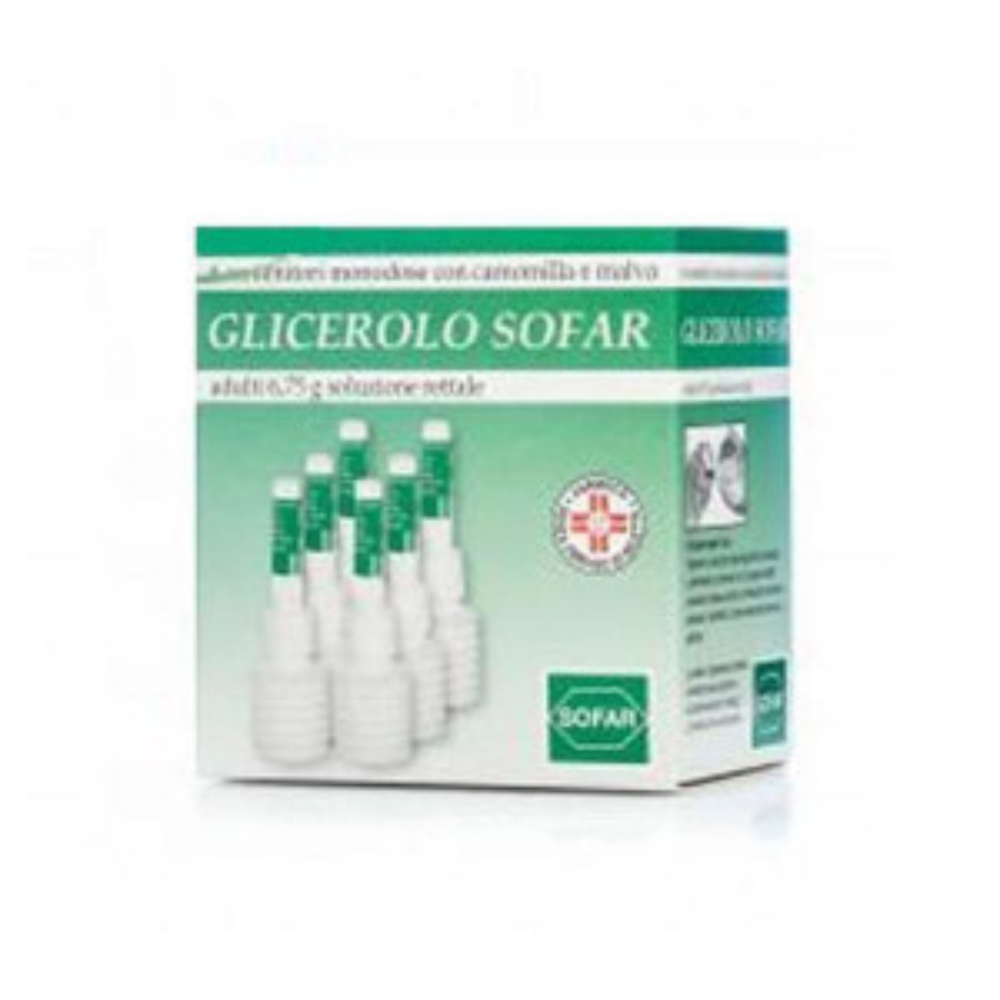 GLICEROLO SOF, ADULTI 6,75 G SOLUZIONE RETTALE 6 CONTENITORI MONODOSE CON CAMOMILLA E MALVA